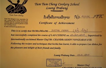 Luang Prabang Cookery School Certificate Frank During